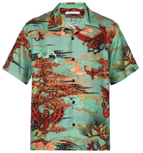 Givenchy Japanese Print Silk Satin Shirt - Mens - Green Multi