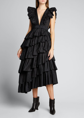Ulla Johnson Viola Plunge-Neck Ruffle Dress