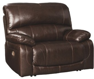 Red Barrel Studio Pisano Genuine Leather Power Recliner Fabric: Chocolate Genuine Leather, Support: Adjustable Headrest Included