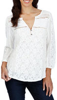 Lucky Brand Lace Front Three-Quarter Sleeve Top