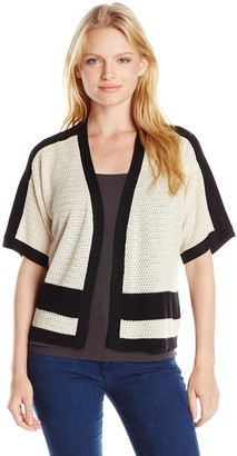 Jones New York Women's Petite Size Color-Block Shrug Sweater