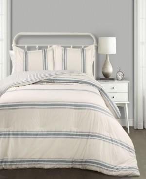 Lush Decor Farmhouse Stripe Reversible 3-Piece Full/Queen Comforter Set Bedding
