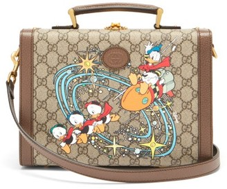 Gucci X Disney Donald Duck-print Shoulder Bag - Brown Multi