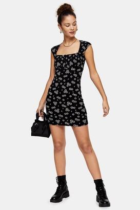 Topshop Womens Black And White Neck Bodycon Dress - Monochrome