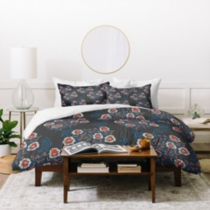 Deny Designs Holli Zollinger Boho Dark Floral Twin Duvet Set Bedding