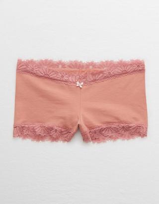 aerie Cotton Lace Trim Boyshort Underwear