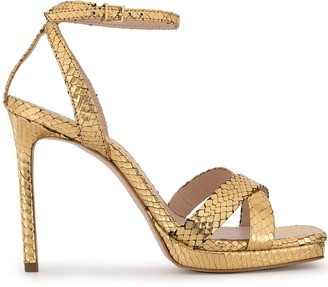 Schutz metallic snakeskin effect sandals