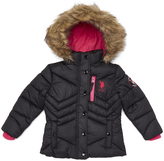 U.S. Polo Assn. Black & Shocking Fuchsia Hooded Puffer Jacket - Toddler & Girls