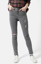 Topshop Women's 'Jamie' Ripped Ankle Skinny Jeans