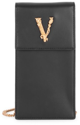 Versace Small Virtus Leather Crossbody Phone Case