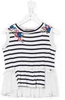 Ermanno Scervino floral embroidery striped blouse