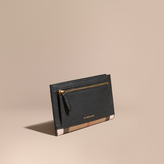 Burberry House Check And Grainy Leather Travel Wallet, Black