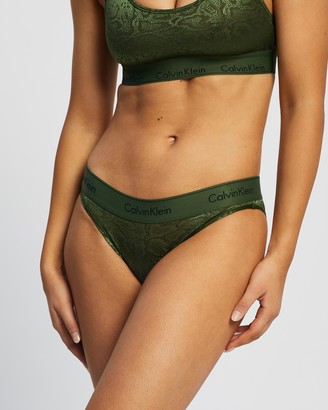 Calvin Klein Women's Green Bikini Briefs - Modern Cotton Snakeskin Burnout Bikini Briefs - Size M at The Iconic
