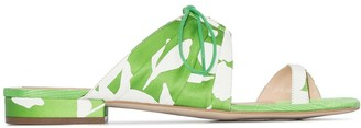 Rosie Assoulin Pleated Floral Flat Mules