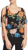 Avec Cold-Shoulder Floral Overlay Top