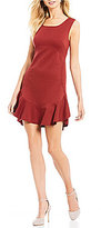 M.S.S.P. Textured Double Knit Flounce Hem Dress