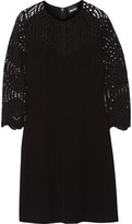 Just Cavalli Lace-Paneled Stretch-Jersey Mini Dress