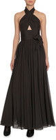 Alaia Silk Taffeta Wrapped Halter Gown