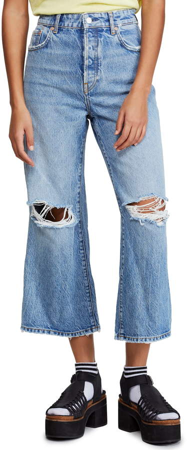 Free People Ranger Ripped Crop Wide Leg Jeans