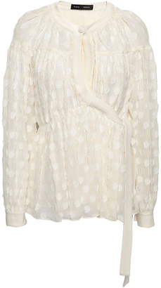 Proenza Schouler Gathered Fil Coupe Silk And Cotton-blend Chiffon Blouse