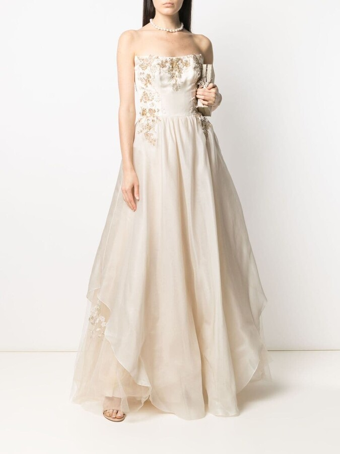 Thumbnail for your product : Parlor Floral-Embroidered Silk Gown