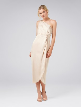 Forever New Vyla Petite One Shoulder Twist Midi Dress - Champagne - 14