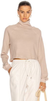 The Range Cropped Turtleneck Top in Saddle | FWRD