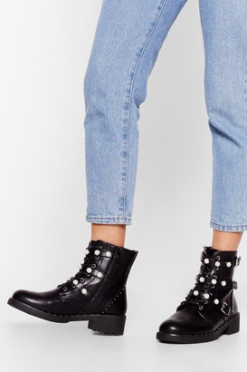 Nasty Gal Womens And Too Boot Pearl Strappy Boots - Black