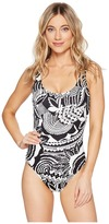 Polo Ralph Lauren Mosaic Print Lace-Up One-Piece Women's Swimsuits One Piece