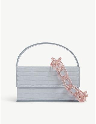 L'Afshar Ida croc-embossed leather top handle bag