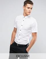 ONLY & SONS Skinny Short Sleeve Shirt With Black Buttons