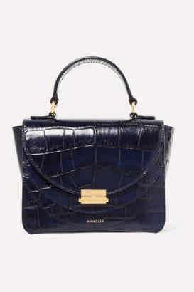 Wandler Luna Mini Glossed Croc-effect Leather Shoulder Bag - Midnight blue