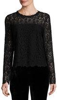 Elie Tahari Corbel Long-Sleeve Lace Blouse, Aubergine/Black