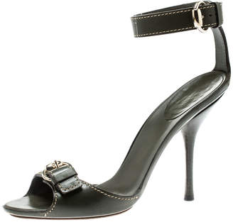 Gucci Green Leather Buckle Detail Ankle Strap Sandals Size 41.5