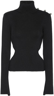 David Koma Ribbed turtleneck wool sweater