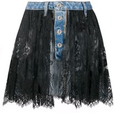 Unravel Project lace-layer denim skirt