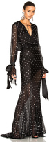 Alexandre Vauthier Embellished Plunging Gown in Black.