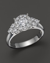 Bloomingdale's Diamond Round Cut Engagement Ring with Side Clusters in 14K White Gold, 1.15 ct. t.w.