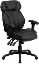 FlashFurniture High Back Leather Executive Office Chair w/ Triple Paddle Control, Black