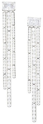 Adriana Orsini Tivoli Rhodium-Plated Cubic Zirconia Fringe Earrings