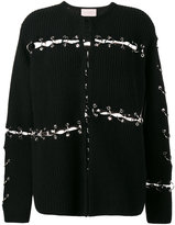 Christopher Kane ring embellished ribbed cardigan - women - Wool/Brass - XS