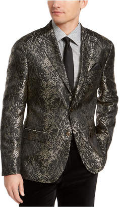 Tallia Men Slim-Fit Gold/Black Snakeskin Jacquard Dinner Jacket