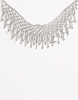 True Decadence silver crystal oversized statement collar necklace-Gold