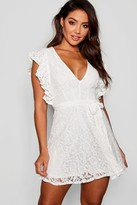 boohoo Lace Ruffle Sleeve Skater Dress