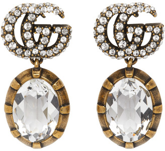Gucci Gold Crystal Double G Earrings