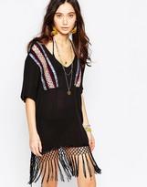 Liquorish Multi Embroidered Tassel T-Shirt Dress