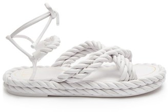 Valentino The Rope Ankle-tie Leather Sandals - Womens - White