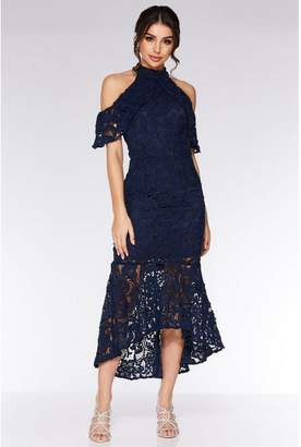 Quiz Navy Crochet High Neck Dip Hem Maxi Dress