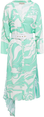 Emilio Pucci Belted Printed Pleated Crepe De Chine-paneled Twill Dress