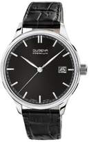 Dugena Men's Premium Quartz Watch with Black Dial Analogue Display and Black Leather Strap